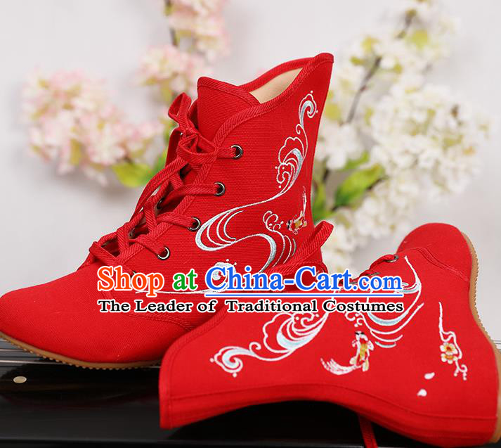 Traditional Chinese Ancient Shoes, China Handmade Embroidered Red Shoes, Princess Boots for Women