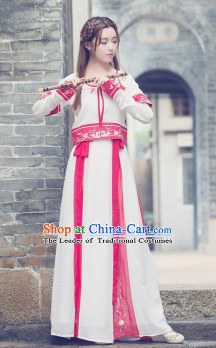 Traditional Ancient Chinese Young Lady Costume Embroidered Vests Blouse and Slip Skirt Complete Set, Elegant Hanfu Suits Clothing Chinese Ming Dynasty Imperial Princess Dress Clothing for Women