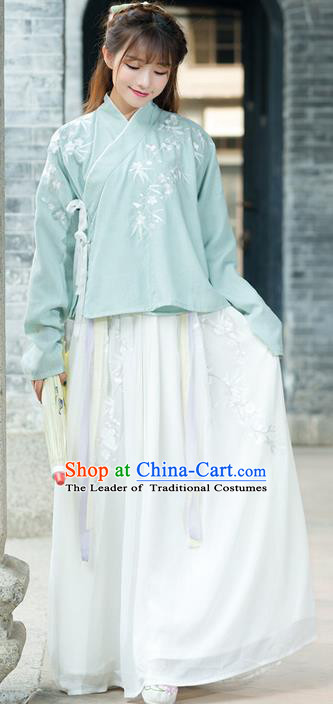 Traditional Ancient Chinese Young Lady Costume Embroidered Slant Opening Blouse and Slip Skirt Complete Set, Elegant Hanfu Suits Clothing Chinese Ming Dynasty Imperial Princess Dress Clothing for Women