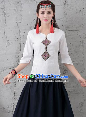 Traditional Chinese National Costume, Elegant Hanfu Embroidery T-Shirt, China Tang Suit Republic of China Plated Buttons Chirpaur Blouse Cheong-sam Upper Outer Garment Qipao Shirts Clothing for Women