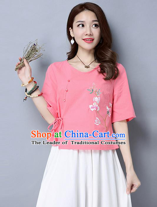 Traditional Chinese National Costume, Elegant Hanfu Embroidered Flowers Slant Opening Pink T-Shirt, China Tang Suit Republic of China Chirpaur Blouse Cheong-sam Upper Outer Garment Qipao Shirts Clothing for Women