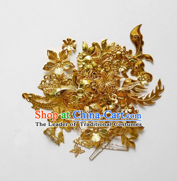 Traditional Handmade Chinese Ancient Classical Hair Accessories Barrettes Hairpin, Hair Sticks Golden Hair Jewellery, Hair Fascinators Hairpins for Women