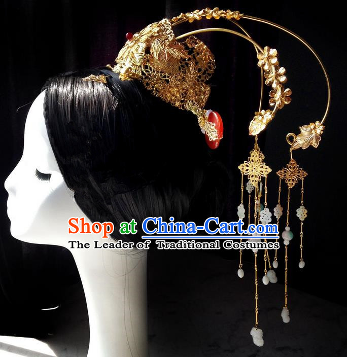 Traditional Handmade Chinese Ancient Classical Handmade Hair Accessories Barrettes Hairpin Wedding Coronet, Palace Princess Step Shake Hair Sticks Hair Jewellery, Hair Fascinators Hairpins for Women