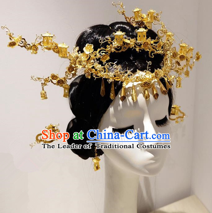 Traditional Handmade Chinese Ancient Classical Hair Accessories Bride Barrettes Phoenix Coronet Complete Set, Empress Hair Sticks Hair Jewellery, Hair Fascinators Hairpins for Women