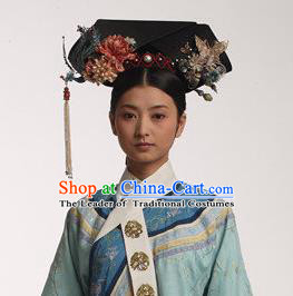 Traditional Ancient Chinese Imperial Consort Hair Jewellery Accessories, Chinese Qing Dynasty Manchu Palace Lady Headwear Zhen Huan Big La fin Headpiece, Chinese Mandarin Imperial Concubine Flag Head Hat Decoration Accessories for Women