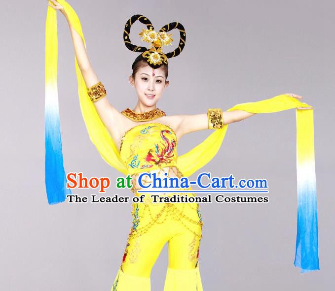 Traditional Chinese Ancient Water Sleeve Dancing Costume, Tang Dynasty Classical Flying Dance Costume Dance Clothing for Women