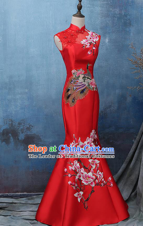 Traditional Ancient Chinese Costume, Chinese Style Wedding Full Dress Red Restoring Dragon and Phoenix Flown Bride Toast Cheongsam for Women