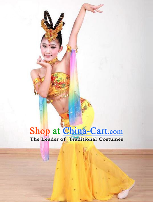 Traditional Chinese Ancient Water Sleeve Dancing Children Girls Costume, Tang Dynasty Classical Flying Dance Costume Dance Clothing for Kids
