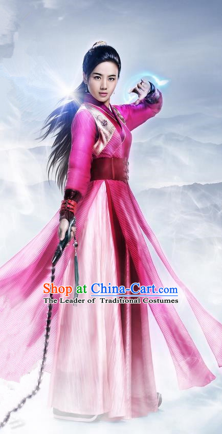 Traditional Ancient Chinese Chivalrous Swordswoman Costume, Chinese Ming Dynasty Heroine Young Lady Red Dress, Cosplay Chinese Television Drama Flying Daggers Hanfu Clothing for Women
