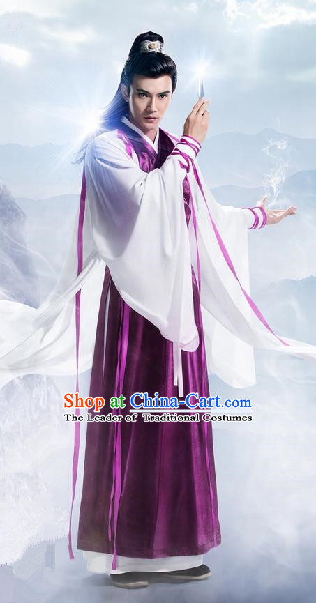 Traditional Ancient Chinese Elegant Swordsman Costume, Chinese Ancient Nobility Childe Dress, Cosplay Chinese Television Drama Flying Daggers Ming Dynasty Prince Hanfu Corselet Clothing for Men