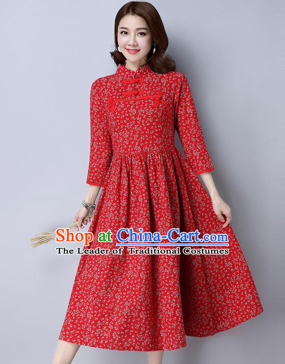 Traditional Ancient Chinese National Costume, Elegant Hanfu Floral Qipao Linen Stand Collar Red Dress, China Tang Suit Cheongsam Upper Outer Garment Elegant Dress Clothing for Women