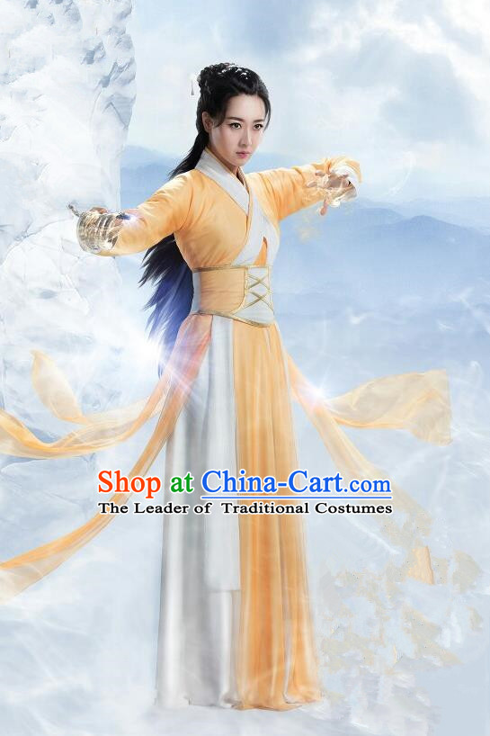 Traditional Ancient Chinese Swordswoman Elegant Costume, Chinese Ming Dynasty Chivalrous Heroine Yellow Dress, Cosplay Chinese Television Drama Flying Daggers Hanfu Clothing for Women
