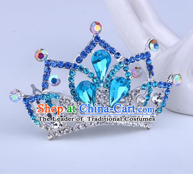 Top Grade Handmade Chinese Classical Hair Accessories, Children Baroque Style Headband Princess Royal Crown Blue Rhinestone Imperial Crown, Hair Sticks Hair Jewellery, Hair Clasp for Kids Girls