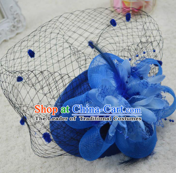 Top Grade Handmade Chinese Classical Hair Accessories, Children Baroque Style Headband Princess Blue Veil Top-hat, Hair Sticks Headwear Hats for Kids Girls