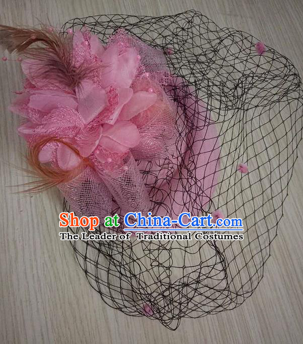 Top Grade Handmade Chinese Classical Hair Accessories, Children Baroque Style Headband Princess Light Pink Veil Top-hat, Hair Sticks Headwear Hats for Kids Girls
