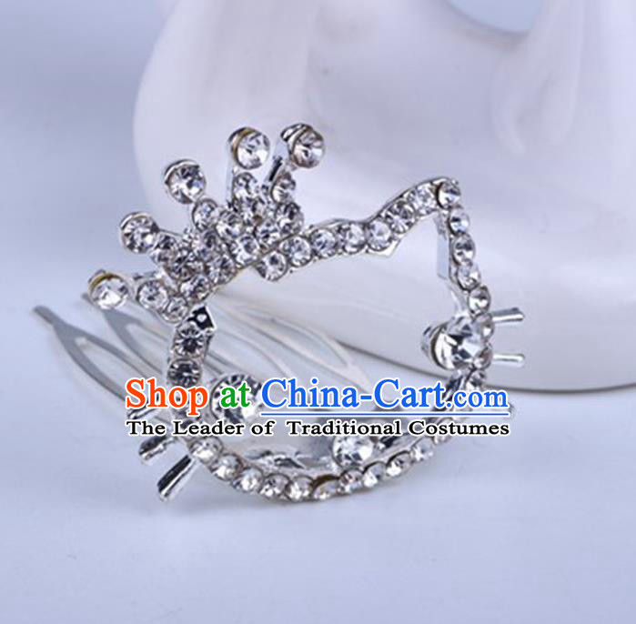 Top Grade Handmade Chinese Classical Hair Accessories, Children Baroque Style Headband Princess Rhinestone Royal Crown, Hair Sticks Hair Jewellery, Cartoon Hair Clasp for Kids Girls