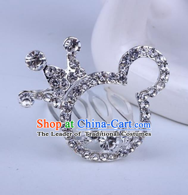 Top Grade Handmade Chinese Classical Hair Accessories, Children Baroque Style Headband Princess Rhinestone Cute Royal Crown, Hair Sticks Hair Jewellery, Cartoon Hair Clasp for Kids Girls