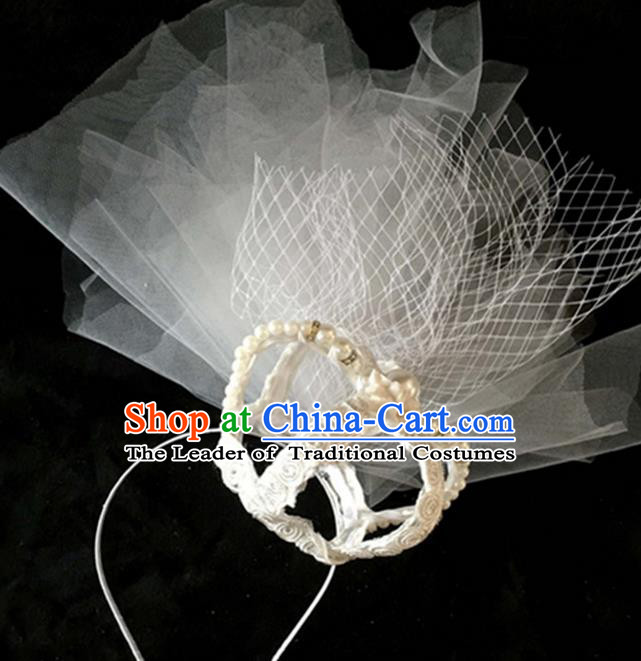 Top Grade Handmade Chinese Classical Hair Accessories, Children Baroque Style Headband Princess Rhinestone Royal Crown, Hair Sticks Hair Jewellery, White Veil Hair Clasp for Kids Girls