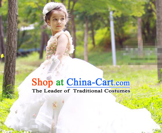 Top Grade Chinese Compere Performance Costume, Children Chorus Singing Group White Long Full Dress Modern Dance Flowers Trailing Dress for Girls Kids