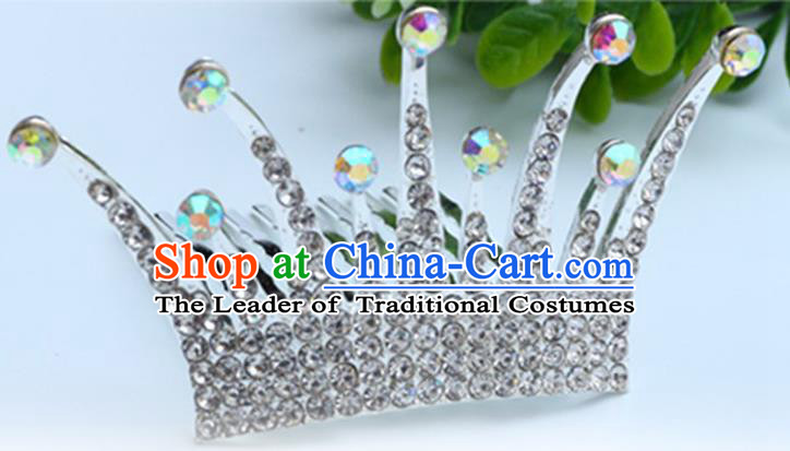 Top Grade Handmade Classical Hair Accessories Hair Comb, Children Baroque Style Crystal Hairpins Rhinestone Princess White Royal Crown Hair Jewellery Hair Clasp for Kids Girls