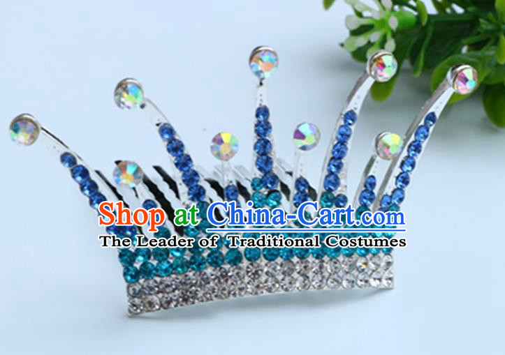 Top Grade Handmade Classical Hair Accessories Hair Comb, Children Baroque Style Crystal Hairpins Rhinestone Princess Blue Royal Crown Hair Jewellery Hair Clasp for Kids Girls