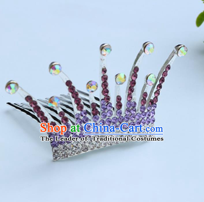 Top Grade Handmade Classical Hair Accessories Hair Comb, Children Baroque Style Crystal Hairpins Rhinestone Princess Purple Royal Crown Hair Jewellery Hair Clasp for Kids Girls