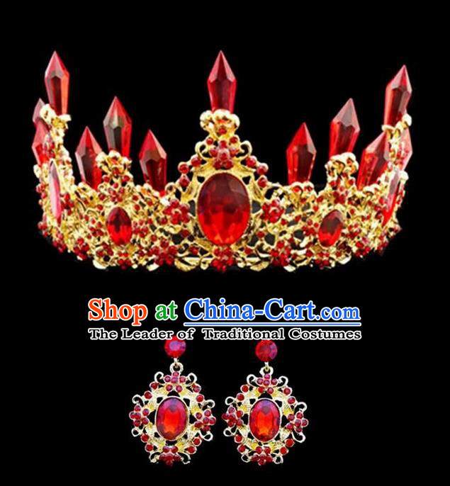 Top Grade Handmade Classical Hair Accessories, Children Baroque Style Crystal Princess Royal Crown and Earrings Wedding Hair Jewellery Hair Clasp for Kids Girls