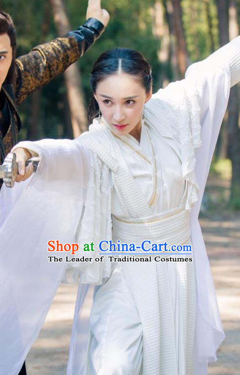 Traditional Ancient Chinese Elegant Swordsman Costume and Handmade Headpiece Complete Set, Chinese Television Drama Flying Daggers Heroine Dress Chinese Ming Dynasty Chivalrous Lady Hanfu Clothing for Women