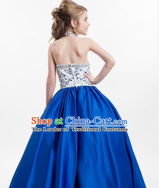Top Grade Chinese Compere Professional Performance Catwalks Costume, Children Chorus Blue Crystal Big Swing Wedding Formal Dress Modern Dance Baby Princess Long Bubble Dress for Girls Kids