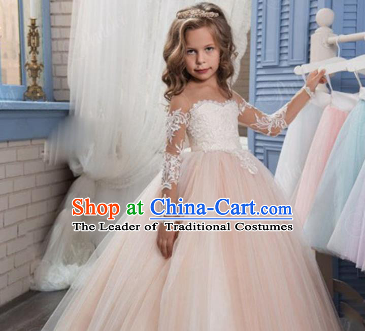 Top Grade Chinese Compere Professional Performance Catwalks Costume, Children Chorus Champagne Lace Flat Shouders Big Swing Wedding Formal Dress Modern Dance Baby Princess Long Bubble Dress for Girls Kids