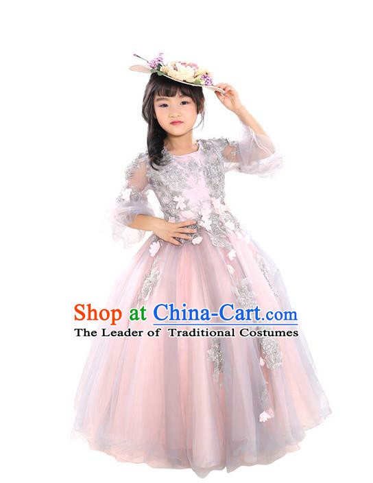 Top Grade Chinese Compere Professional Performance Piano Recital Catwalks Costume, Children Chorus Luxury Flower Fairy Wedding Veil Bubble Formal Dress Modern Dance Baby Princess Trailing Long Dress for Girls Kids