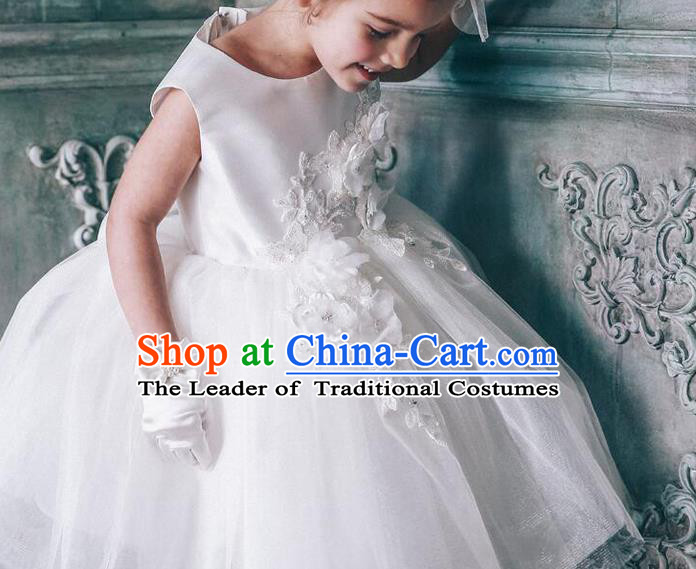 Top Grade Compere Professional Performance Catwalks Costume, Children Chorus White Flowers Multilayer Veil Bubble Formal Dress Modern Dance Baby Princess Short Dress for Girls Kids