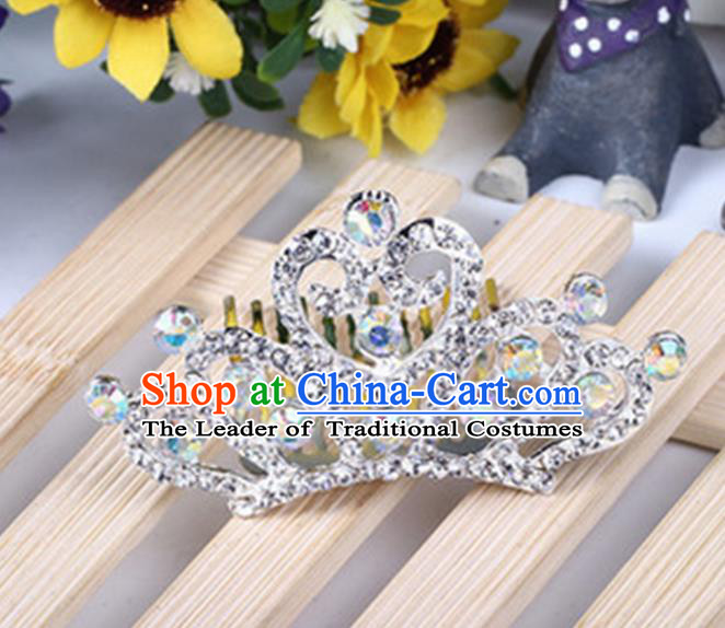 Top Grade Handmade Classical Hair Accessories, Children Baroque Style White Crystal Princess Royal Crown Hair Comb Jewellery for Kids Girls