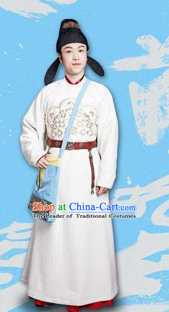 Traditional Ancient Chinese Elegant Minister Costume and Handmade Hat Complete Set, Chinese Television Drama Concubine Meng Comes Across Chinese Tang Dynasty Scholar Clothing for Men