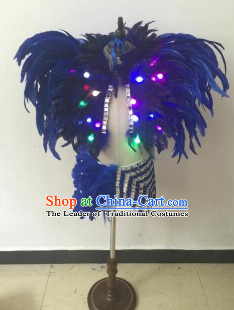Top Grade Compere Professional Performance Catwalks Swimsuit Costume, Children Chorus Blue Feather Formal Dress Modern Dance Modern Fancywork Led Clothing for Boys Kids