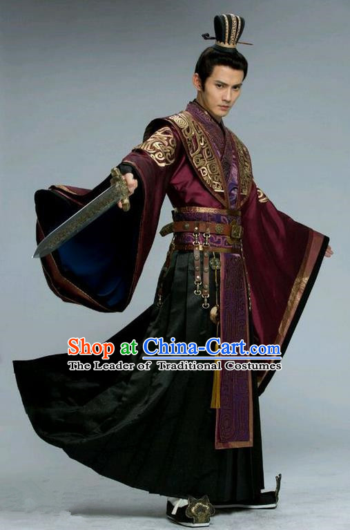 Traditional Chinese Ancient Imperial Dandies Swordsman Costume and Headwear Complete Set, Chinese Northern and Southern Dynasties Prince Tokgo World Nobility Childe Embroidered Hanfu Clothing for Men