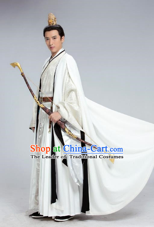 Traditional Chinese Ancient Swordsman Costume and Headwear Complete Set, China Northern and Southern Dynasties Prince Tokgo World Nobility Childe Hanfu Clothing for Men