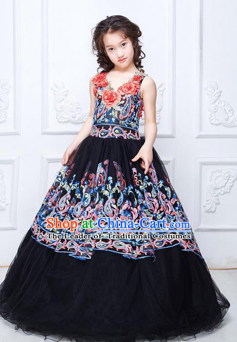 Top Grade Compere Professional Performance Catwalks Swimsuit Costume, Children Chorus Flower Faerie Customize Black Wedding Veil Bubble Full Dress Modern Dance Baby Princess Modern Fancywork Long Trailing Clothing for Girls Kids