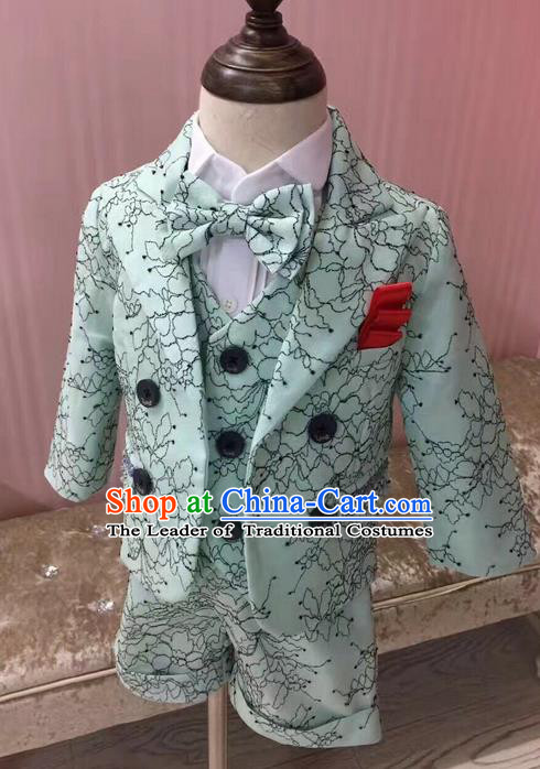 Top Grade Compere Professional Performance Catwalks Blazer Costume Complete Set, Children Chorus Suits Modern Dance Modern Fancywork Little Gentleman Clothing for Boys Kids