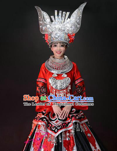 Traditional Chinese Miao Nationality Dancing Costume, Hmong Folk Dance Ethnic Costume, Chinese Miao Minority Nationality Dance Costume for Women