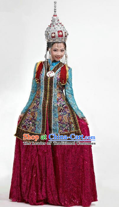 Traditional Chinese Mongol Nationality Dancing Costume, Mongols Female Folk Dance Ethnic Pleated Skirt, Chinese Mongolian Minority Nationality Embroidery Clothing Complete Set for Women