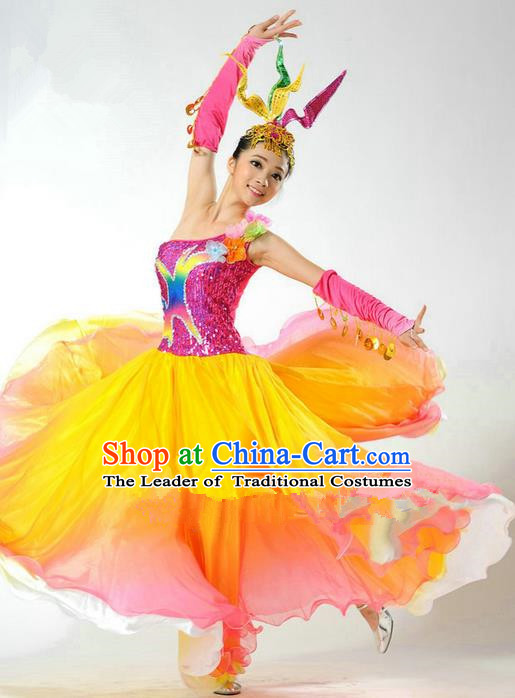 Chinese Classic Stage Performance Chorus Singing Group Dance Costumes, Opening Dance Folk Dance Dress, Classic Dance Clothing for Women