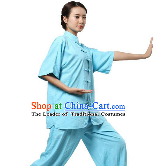 Traditional Chinese Kung Fu Costume Martial Arts Linen Blue Suits Pulian Meditation Clothing, Tang Suit Plated Buttons Uniforms Tai Chi Clothing for Women