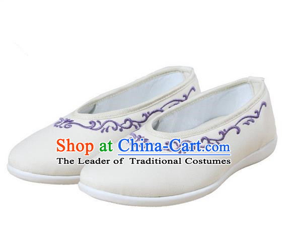 Top Chinese Traditional Tai Chi Embroidered Linen Shoes Kung Fu Pulian Shoes Martial Arts Beige Shoes for Women