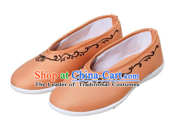 Top Chinese Traditional Tai Chi Embroidered Linen Shoes Kung Fu Pulian Shoes Martial Arts Orange Shoes for Women