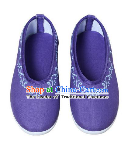 Top Chinese Traditional Tai Chi Embroidered Linen Shoes Kung Fu Pulian Shoes Martial Arts Purple Shoes for Women