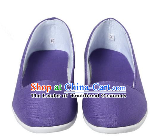 Top Chinese Traditional Tai Chi Linen Shoes Kung Fu Pulian Shoes Martial Arts Purple Shoes for Women