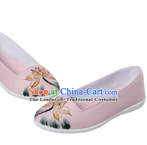 Top Chinese Traditional Tai Chi Hand Painting Lotus Linen Shoes Kung Fu Pulian Shoes Martial Arts Pink Shoes for Women