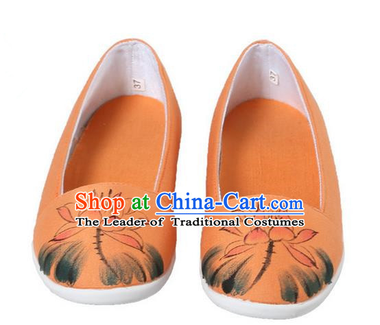 Top Chinese Traditional Tai Chi Hand Painting Lotus Linen Shoes Kung Fu Pulian Shoes Martial Arts Orange Shoes for Women