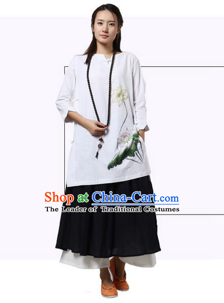 Top Chinese Traditional Costume Tang Suit White Linen Painting Double Lotus Qipao Dress, Pulian Zen Clothing China Cheongsam Upper Outer Garment Dress for Women